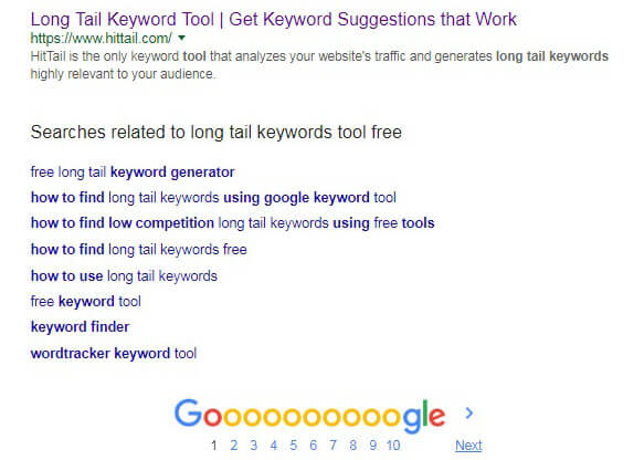 Google related keywords search